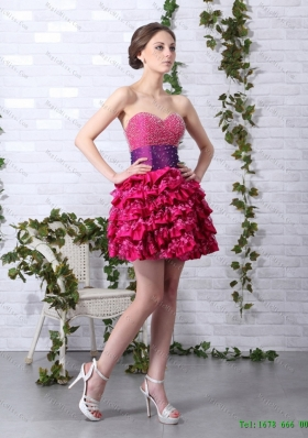 Cute Ruffled Layers Sweetheart Beading  Dama Dresses for 2015