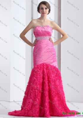 2015 Wonderful Strapless Prom Dress with Ruching and Beading