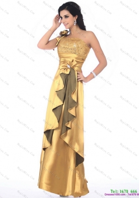 Gorgeous One Shoulder Gold Prom Dress with Hand Made Flowers and Ruching