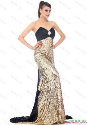 Luxurious Brush Train 2015 Prom Dress with Ruching and Sequins