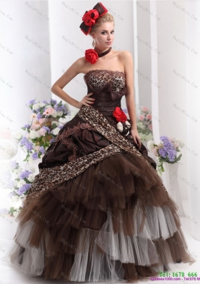 Perfect Leopard Multi Color Prom Dresses with Hand Made Flowers