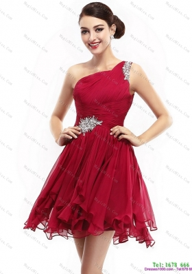 One Shoulder Ruching Mini Length Prom Dresses with Beading