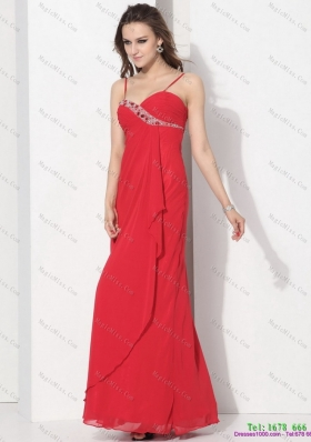 Red Spaghetti Straps Prom Dresses with Ruching and Beading