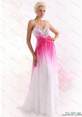 2015 Romantic Spaghetti Straps Brush Train Prom Dress with Paillettes