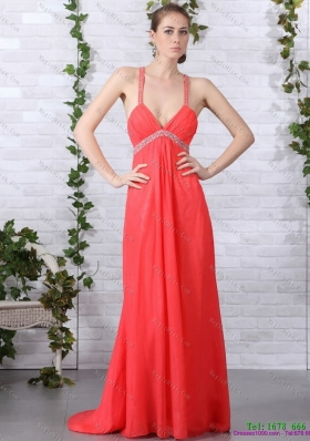 Spaghetti Straps Prom Dresses with Ruching and Beading