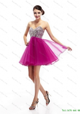 Beautiful Hot Pink Sweetheart Prom Dresses with Rhinestone