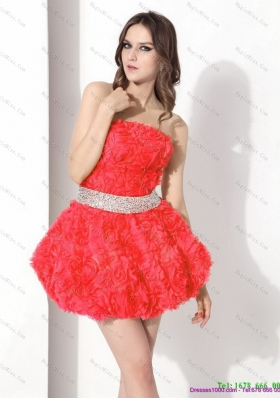 Strapless Short Prom Dresses with Rolling Flowers and Beading