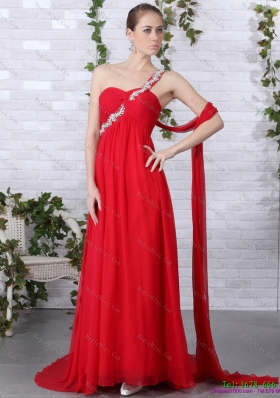 Popular 2015 One Shoulder Red Prom Dress with Beadings and Brush Train