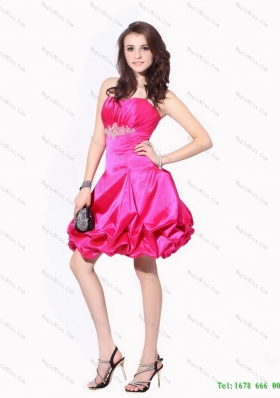 2015 Ruching Strapless Prom Dresses with Pick Ups and Appliques