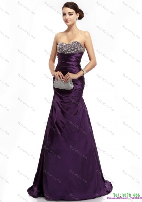2015 Romantic Brush Train Prom Dress with Ruching and Beading