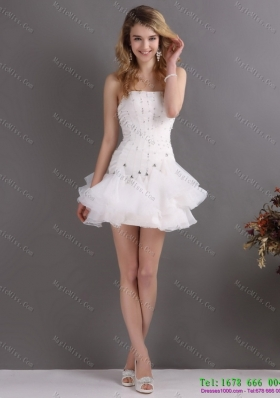 White Strapless Mini Length Prom Dresses with Rhinestones