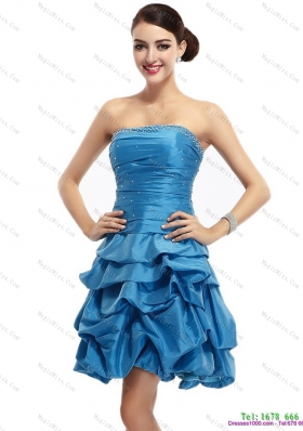 Baby Blue Strapless Prom Dresses with Pick Ups and Beading