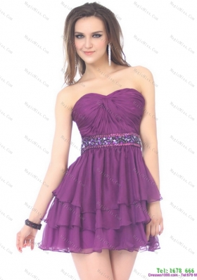 2015 Beautiful Sweetheart Mini Length Prom Dress with Sequins and Ruching