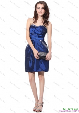 Navy Blue Sweetheart Dama Dresses with Ruching and Beading