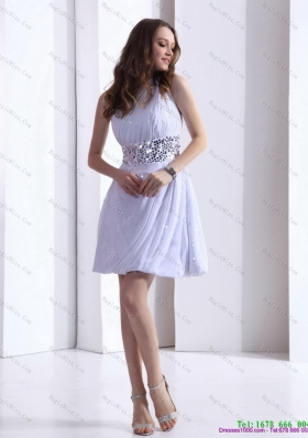 2015 Discount One Shoulder White Prom Dress with Ruching and Sequins