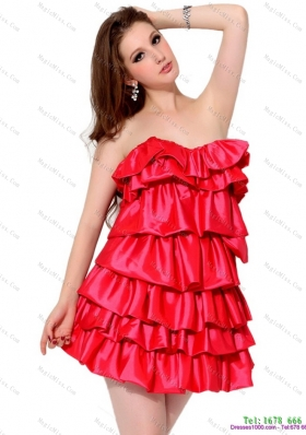 2015 Red Mini Length Prom Dresses with Ruffled Layers