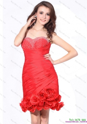 Beading Red Sweetheart Prom Dresses with Hand Made Flowers and Ruching
