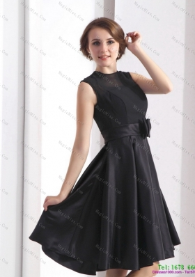 2015 Perfect Black Knee Length Prom Dress with Bowknot
