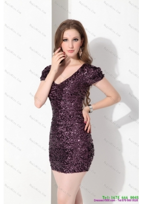 2015 Luxurious V Neck Mini Length Prom Dress with Sequins