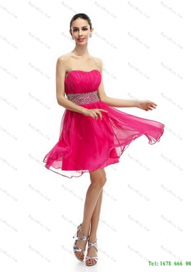 Coral Red Strapless Short Prom Dresses with Ruching and Rhinestones