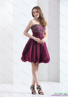 Perfect and Plus Size Wine Red Strapless Short Prom Dresses with Beading