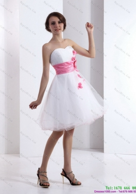 2015 Romantic  and Plus Size Sweetheart White Prom Dress with Hand Made Flowers