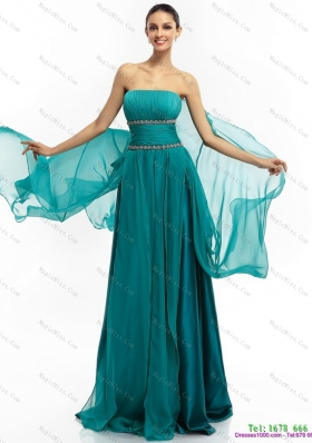 2015 Inexpensive and Plus Size Strapless Prom Dress with Ruching and Beading