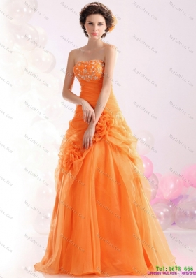 2015 Luxurious Strapless Orange Red Prom Dress with Hand Made Flowers and Beading