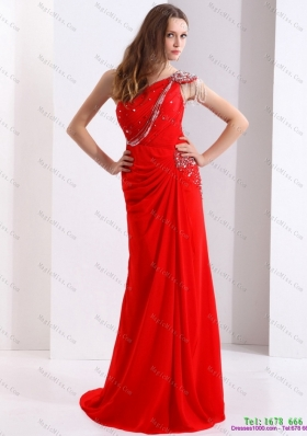 Elegant and Plus Size 2015 One Shoulder Red Prom Dress with Beadings and Brush Train