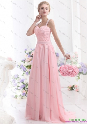Remarkable and Plus Size 2015 Baby Pink Prom Dress with Brush Train and Ruching