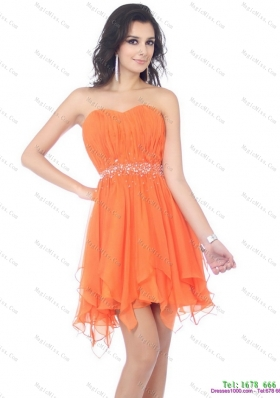 2015 Romantic and Plus Size Sweetheart Beading and Ruching Prom Dress in Orange