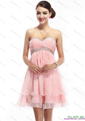 Beautiful and Plus Size Sweetheart 2015 Prom Dress with Beading and Ruching