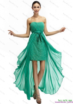 Turquoise High Low Beading Prom Dresses with Ruching and Bownot