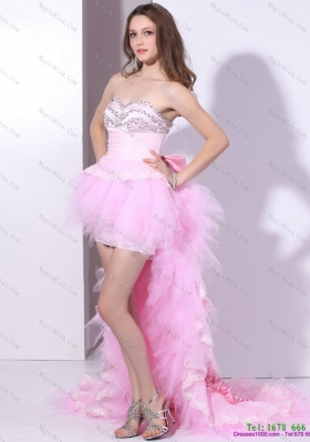Baby Pink Ruffled One Shoulder High Low Prom Dresses with Hand Made Flower and Beading