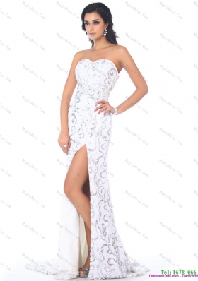 2015 Sexy Sweetheart Printed White High Low Prom Dress with High Slit