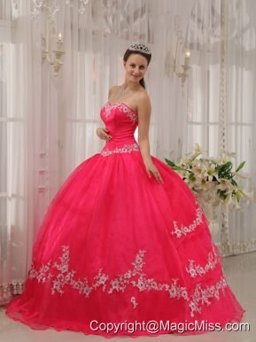 Coral Red Ball Gown Sweetheart Floor-length Taffeta and Organza Appliques Quinceanera Dress