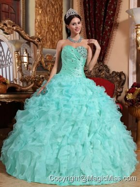 Apple Green Ball Gown Sweetheart Floor-length Organza Beading and Ruffles Quinceanera Dress