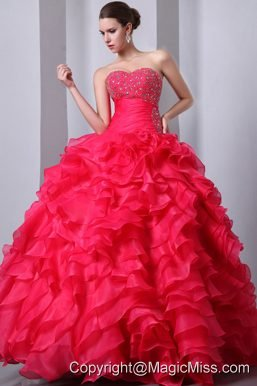 Coral Red A-Line / Princess Sweetheart Floor-length Organza Beading and Ruffles Quinceanea Dress