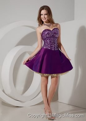 Elegant Purple Cocktail Dress A-line Sweetheart Taffeta and Sequin and Tulle Mini-length