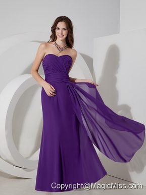Lovely Purple Column Sweetheart Prom Dress Chiffon Ruch Floor-length