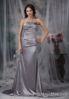 Grey Column Strapless Court Train Beading Elastic Wove Satin Prom Dress