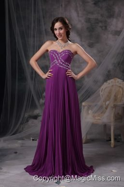 Purple Empire Sweetheart Brush Train Chiffon Beading Prom Dress
