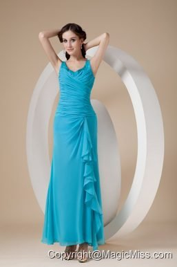 Custom Made Teal Column / Sheath Straps Prom Dress Chiffon