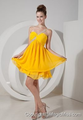 Yellow Empire One Shoulder Mini-length Chiffon Beading Prom / Homecoming Dress