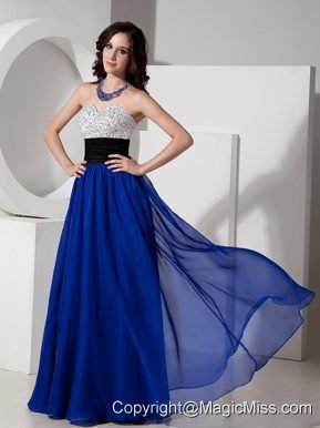 Blue Empire Sweetheart Floor-length Chiffon Beading Prom Dress