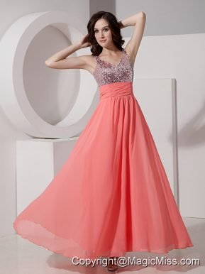 Customer Made Watermelon Empire Straps Prom Dress Chiffon Beading Ankle-length