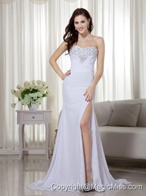 White Column Sweetheart Brush Train Chiffon Beading and Ruch Prom / Celebrity Dress