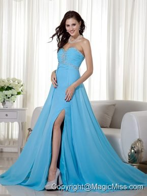 Baby Blue Empire Sweetheart Brush Train Chiffon Beading and Ruch Prom / Celebrity Dress