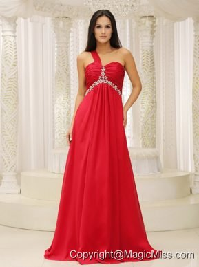 One Shouder Red and Natural Waist Ruched Appliques Chiffon Promn Dress