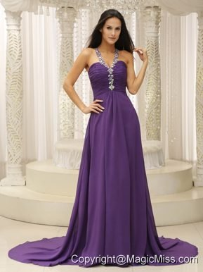 V-neck Beaded Decorate Shoulder Ruched Bodice For Prom Dress In New Jersey